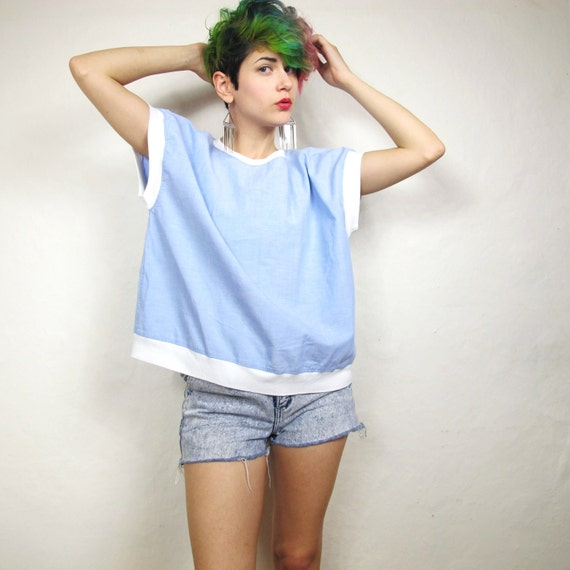 80s Easy Chambray Boxy Summer Top (M/L)