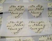I love you heart stickers, black and ivory script, 24 count