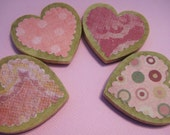 Pink wooden heart magnets, set of 4