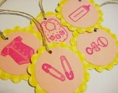 Pink and yellow baby girl gift tags, set of 10