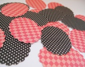 Pink and black oval scallop stickers - 24 count