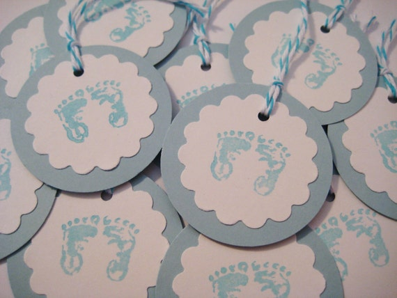 Baby boy gift tags, blue baby feet, set of 12