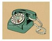 Vintage Rotary Dial Telephone 8x10 Print (Retro Green and Parchment) Buy 3 Get One Free (any print)