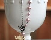 RESERVED for wilmotj -- Little pink elephant charm bracelet
