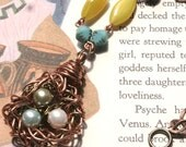 Large bird's nest statement pendant necklace in copper