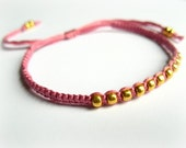 Breast Cancer Awareness Bracelet - Light Pink and Gold by KnottyNY