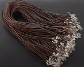 20pcs 2.0mm 18-20 inch adjustable coffee/brown REAL LEATHER necklace cord with lobster clasp