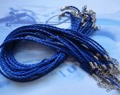 25pcs 18-20 inch 3.0mm adjustable dark blue faux braided necklace cord with lobster clasp