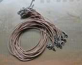 25pcs 1.5mm 17-19 inch adjustable ecru REAL LEATHER necklace cord with lobster clasp
