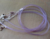 30pcs 2.0mm 18-20 inch adjustable purple  rubber necklace cord with silver  lobster clasp and extension chain