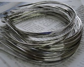 15pcs Metal Headbands 4mm silver color with bent end