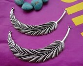 5pcs 90x17mm Big Feather Antique Silver Retro Pendant Charm For Jewelry Pendant