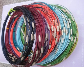 10pcs assorted/mixed color 1mm 18 inch stainless steel wire/cord with screw clasp