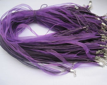 20pcs 17-19 inch adjustable dark purple ribbon necklace cord