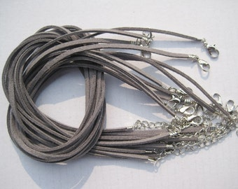 20pcs 3mm 16-18 inch adjustable gray suede leather necklace cord with white k lobster clasp