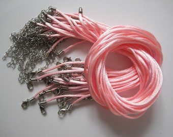 50pcs 2mm 17-19 inch adjustable pink satin necklace cord with lobster clasp