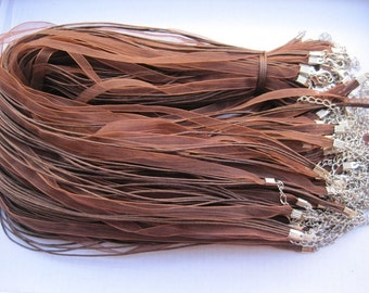 10pcs 17-19 inch brown ribbon necklace cord with lobster clasp