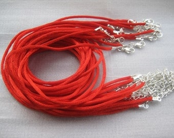 50pcs 16-18 inch adjustable 2.0mm red satin necklace cord with silver findings