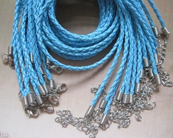 On sale--25pcs 17-19 inch adjustable 3mm turquoise faux braided leather necklace cord with lobster clasp