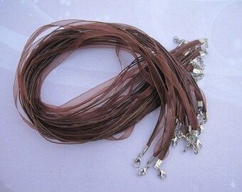 100pcs 18-20 inch adjustable brown ribbon necklace cord with lobster clasp