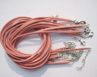 50pcs 3mm 16-18 inch adjustable pink suede leather necklace cord with white k lobster clasp