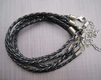 100pcs 3mm 7 -9 inch adjustable black faux braided leather  bracelet with lobster clasp