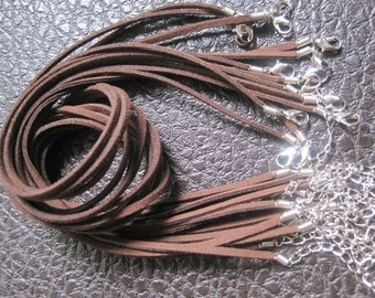 25pcs 16-18 inch adjustable 3mm dark coffee suede leather necklace cord with lobster clasp