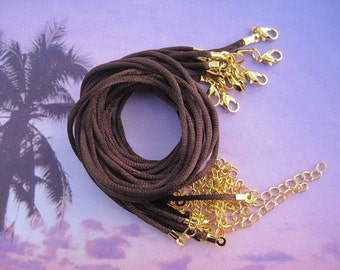 50pcs 18-20 inch adjustable 2.0mm brown satin necklace cord with gold findings