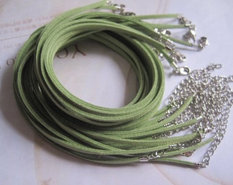 SMALL BAILS SUPPLY--25pcs 3mm 16-18 inch adjustable green suede leather necklace cord with white k lobster clasp
