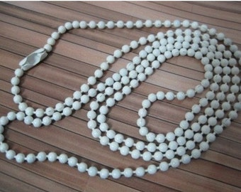 10pcs 2mm 27 inch white ball necklace chain with matching connector