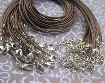 50pcs 1.5mm 18-20 inch adjustable coffee korea snake wax string with lobster clasp