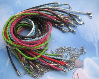 22pcs 3mm 20-22 inch adjustable assorted color(11 colors)  faux braided leather necklace cord