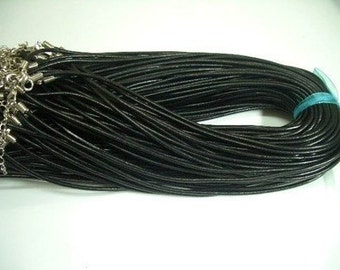 20pcs 2.5mm 20-22 inch adjustable black GENUINE leather necklace cord with lobster clasp