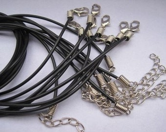 50pcs 16-18 inch adjustable 1.5mm black rubber necklace cord with lobster clasp
