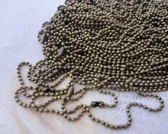 10pcs 27 inch 2.0mm  antique bronze  ball necklace chain with matching connector