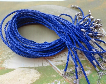 30pcs 3mm 16-18 inch adjustable royal blue  faux braided leather necklace cord