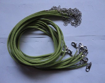 SMALL BAILS SUPPLY--15pcs 3mm 18-20 inch adjustable yellow green suede leather necklace cord with white k lobster clasp