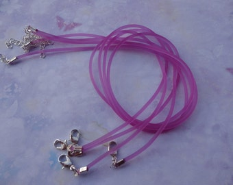 30pcs 2.0mm 18-20 inch adjustable purple red rubber necklace cord with silver  lobster clasp and extension chain