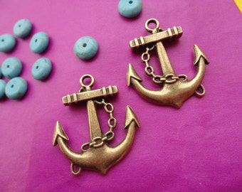 20pcs 26x26mm Anchor Antique Bronze Retro Pendant Charm For Jewelry Pendant