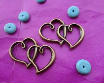 20pcs 22mmx32mm Double Heart  Antique Bronze Retro Pendant Charm For Jewelry Pendant