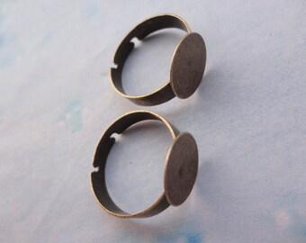 150pcs Adjustable Antique Bronze Ring Blanks 12mm