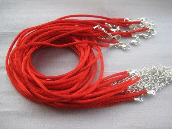 25pcs 16-18 inch adjustable 2.0mm red satin necklace cord with silver findings