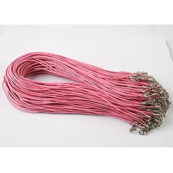 50pcs 1.5mm 18-20 inch adjustable pink waxed cotton necklace cord with lobster clasp