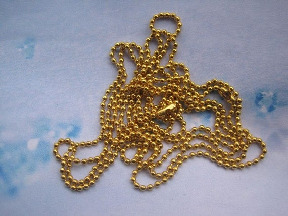 100pcs gold 2.0mm 27 inch ball necklace chain with matching connector