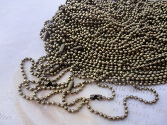 40pcs 18 inch 2.0mm  antique bronze  ball necklace chain with matching connector