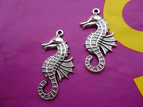 20pcs 40mmx16mm sea horse/hippocampi   Antique Silver  Retro Pendant Charm For Jewelry Pendant