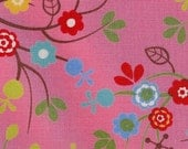 Japanese cotton. Swirly flowers by Sevenberry. Pink background