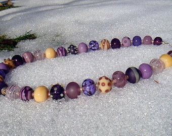 """Necklace """"MYSTIQUE"""" - hollow lampwork beads, sterling silver, amethyst - one of a kind!"""