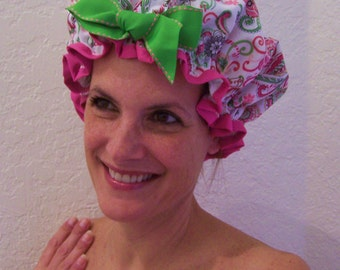 "Shower Cap Women's Waterproof Washable ""Mod Swirls Flowers"""