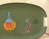 Vintage 1960's Italian Serving Tray -- Retro Style with Wine decanter and grapes